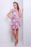 Летнее платье с пышной юбкой и рукавом японкой салатного цвета с цветочным принтом