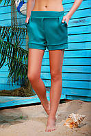 Короткие женские шорты на резинке с карманами и подворотами