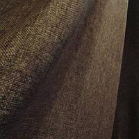 Штора мешковина - лен, цвет темно коричневая