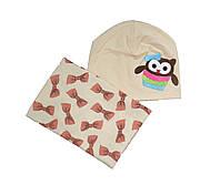 Комплект шапка и снуд  для новорожденных
