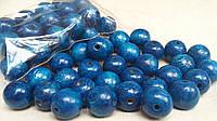 Светло-синие бусины из дерева, круглые, 30 шт,  диаметр - 2 см.,  10 гр.