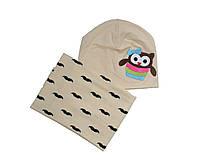 Набор шапка снуд  для новорожденных