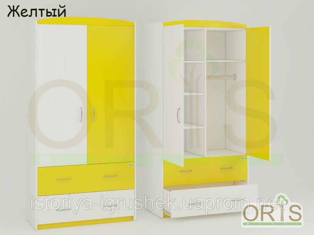 Детский шкаф Oris-mebel бело-желтый