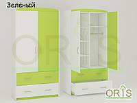 Детский шкаф Oris-mebel бело-зеленый