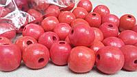 Пурпурно-розовые бусины из дерева, круглые, 30 шт,  диаметр - 2 см.,  10 гр.