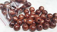 Светло-коричневые деревянные бусины круглой формы, 30 шт,  диаметр - 2 см.,  10 гр.