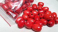 Красные деревянные бусины овальной формы, 30 шт,  диаметр - 2 см.,  10 гр.