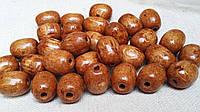 Бусины коричневые из дерева, овальные, 30 шт,  диаметр - 2 см.,  10 гр.