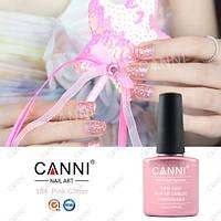 Гелевое покрытие для ногтей с розовым глиттером