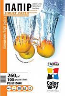 Фотобумага ColorWay глянцевая 260г/м, 10x15 PG260-100