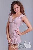 Туника летняя с воланом для беременных и кормящих бежевая