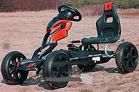 Карт железный веломобиль для детей 1504-2-3, колеса EVA, красно-черный