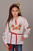 """Детская сорочка вышиванка для девочки  """"Мак ― 2"""", фото 1"""