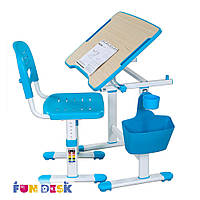 Комплект FunDesk Парта и стул-трансформеры Piccolino II Blue+лампа L3