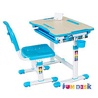 Комплект FunDesk Парта и стул-трансформеры Bambino Blue+лампа FunDesk L5