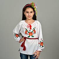 """Детская сорочка вышиванка для девочки """"Маленькие маки"""""""