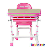 Комплект FunDesk Парта и стул-трансформеры Sorriso Pink+лампа FunDesk L1