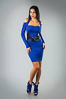 Єфектное  платье  дайвинг с оригинальным кожаным поясом