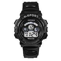 Часы наручные детские электронные, цифровые для мальчика, девочки Mans черные, черного цвета, с будильником