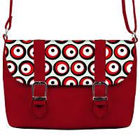 Красная сумка Бриф с принтом Круги