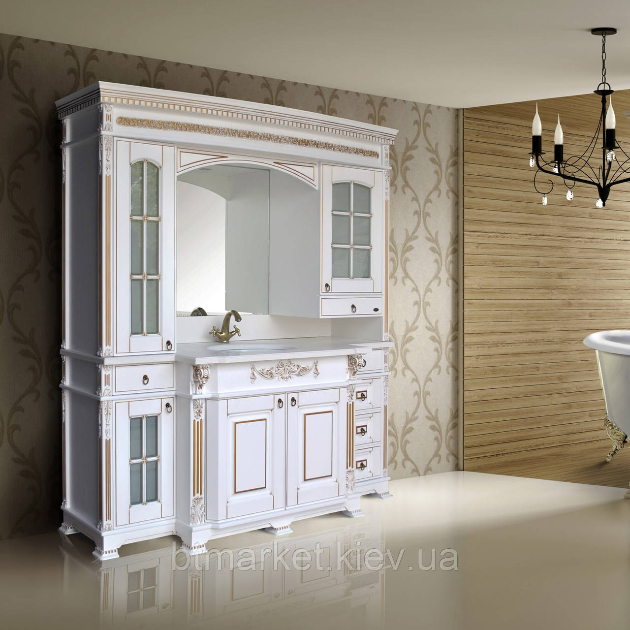 Комплект мебели Ольвия (Атолл) Людовик white gold (белый мат + золото)
