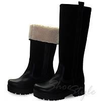 Женские зимние сапоги прямого одевания из натуральной замши