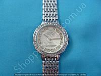 Женские часы Rolex B46 114240 серебристые в стразах диаметр 3,5 см плетеный металлический браслет