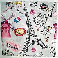 Салфетка для декупажа Cafe de Paris 33*33 см, 1 шт