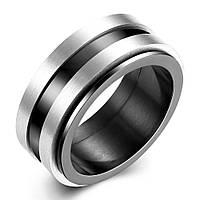 Кольцо сталь черные полоски