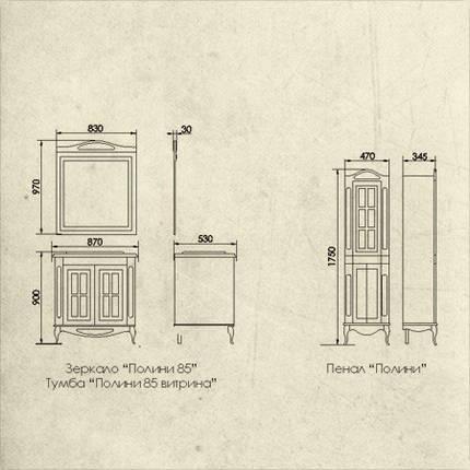 Комплект мебели Ольвия (Атолл) Верона 85 глухой фасад столешница камень dorato, фото 2