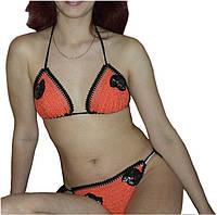 Вязаный крючком радельный купальник абрикосового цвета, с вышивкой бисером
