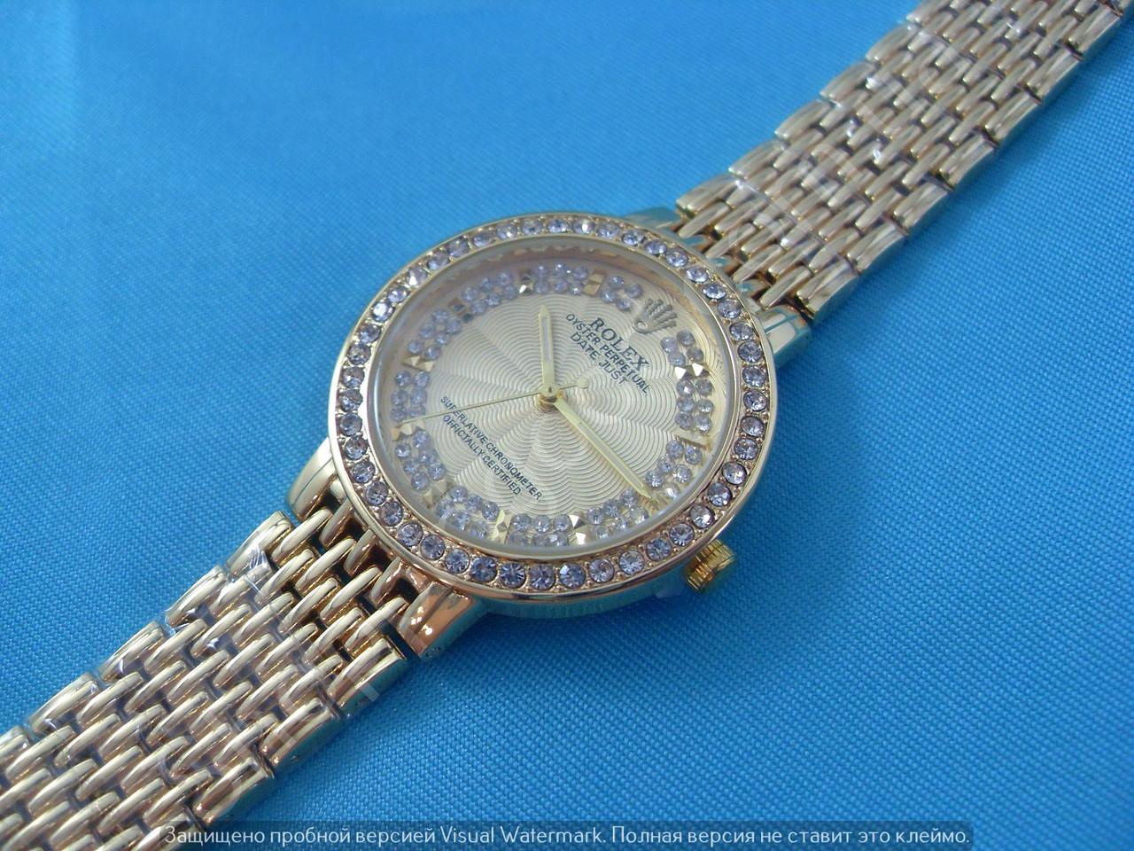 433e69c4311e Женские часы Rolex B46 114241 золотистые в стразах диаметр 3,5 см плетеный  металлический браслет