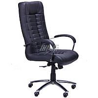 Кресло Парис Хром Кожа Люкс комбинированная Черная, фото 1