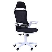Кресло Boomer сетка черная, каркас белый
