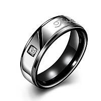 Кольцо сталь черное фианит пять слов
