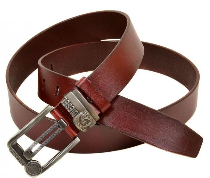 Мужской кожаный ремень под джинсы W0017 бордовый 4 см