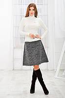 Костюм гольф+юбка зимний молочный