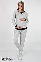 Спортивный костюм для беременных, из плотного меланжевого трикотажа трехнитка, серый меланж