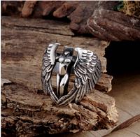 Кольцо для байкера мужское из стали 316 L. Крылья ангела
