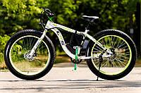 Электровелосипед LKS Fatbike Бело-зелёный (Фэтбайк) Electro Rear Drive