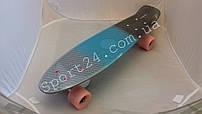 Полосатый пенни борд 22 (Penny board fades 22) - серый, голубой, черный
