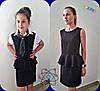 """Детская школьная блуза для девочки """"Стюардесса"""" с галстуком и коротким рукавом (2 цвета), фото 3"""