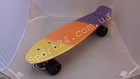 Полосатый пенни борд Canary 22 (Penny board fades 22) - желтый, оранжевый, голубой