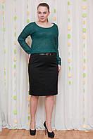 Нарядная женская юбка с вышивкой черного цвета. Размеры 48,50,52,54, фото 1