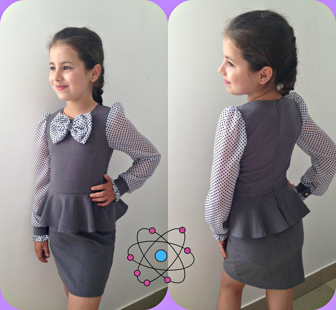 """Детское школьное платье """"Николь"""" с баской и длинным рукавом (3 цвета)"""