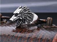 Кольцо для байкера мужское из стали 316 L. Волк