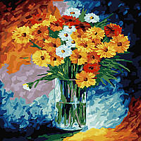 """Картина раскраска по номерам Идейка """"Ромашки"""" (KHO2021) 40 х 40 см (без коробки)"""