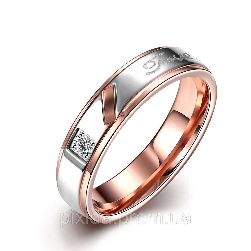 Кольцо сталь золотистое фианит пять слов