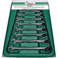 Набор ключей трещеточных 8-19 мм в ложементе HANS 8 предметов (16658МВ)