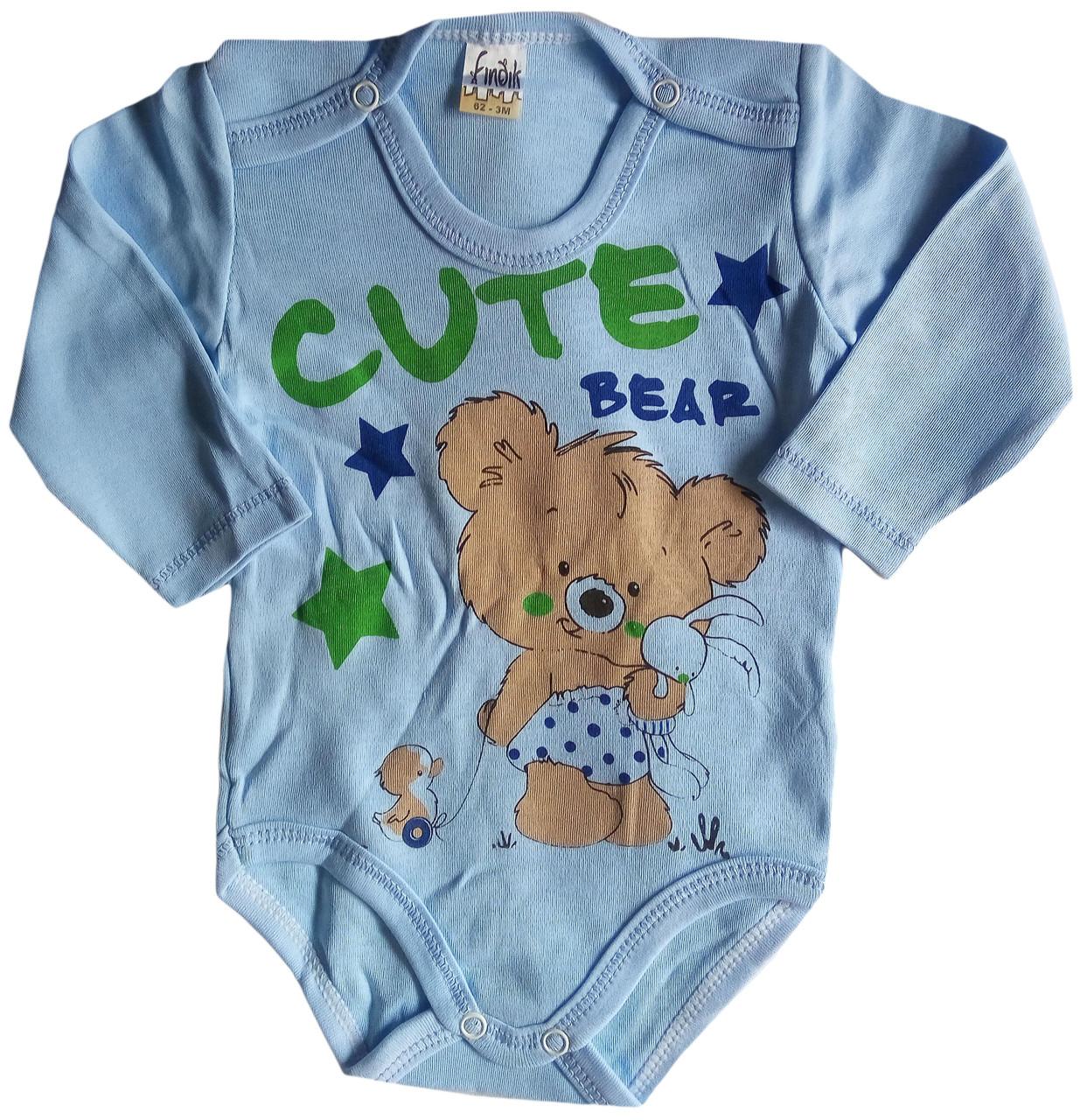 Детский Боди с длинным рукавом, Мишка, голубой, 3-6-9-12-18 мес, интерлок, Турция, оптом